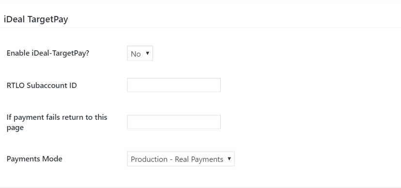 TargetPay (iDeal) settings
