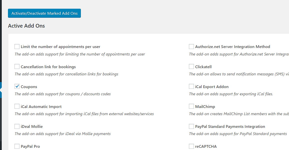 enabling coupon codes add-on